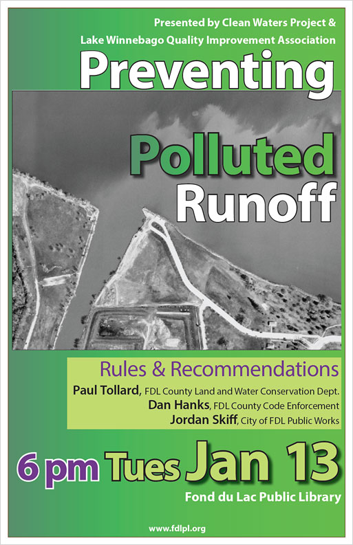 poster for Preventing Pollution Runoff program sponsored by FDL Library
